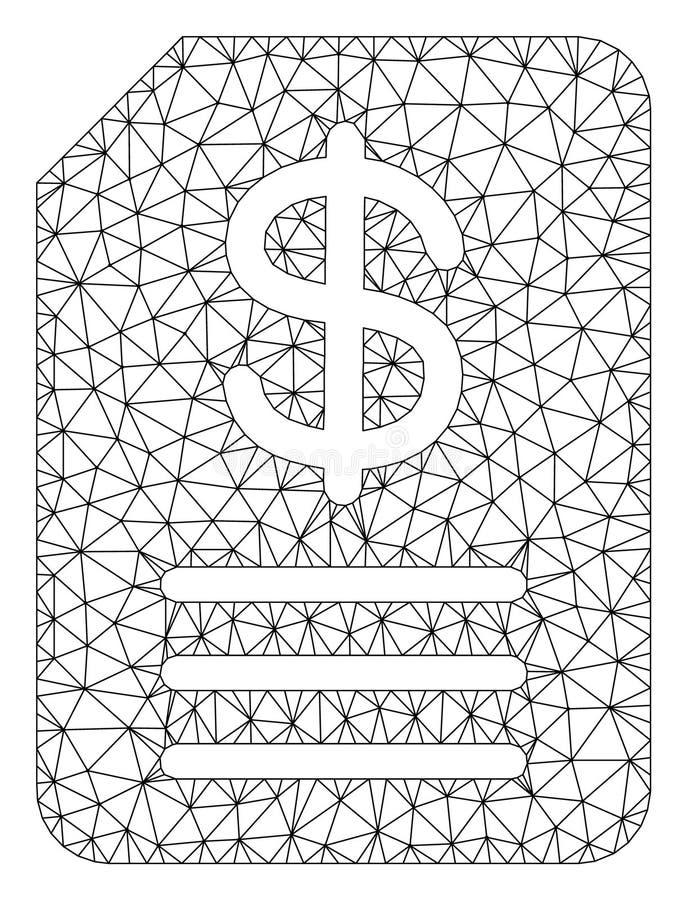 Vetor poligonal Mesh Illustration do quadro da fatura do or?amento ilustração stock
