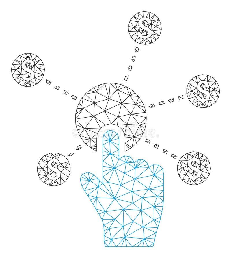Vetor poligonal Mesh Illustration do quadro da rede financeira do clique ilustração stock