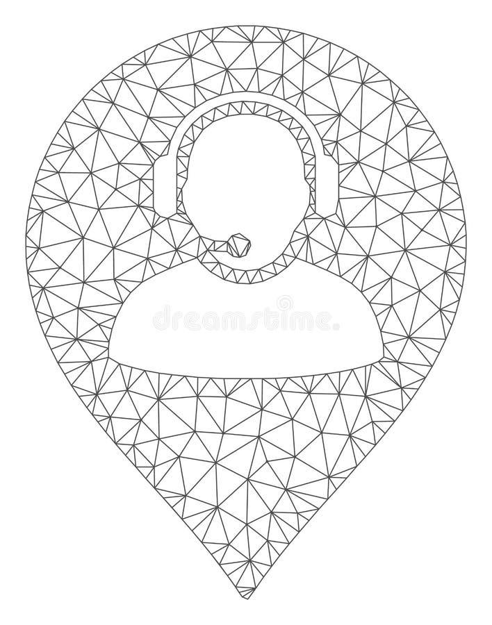 Vetor poligonal Mesh Illustration do quadro do marcador do centro de atendimento ilustração do vetor