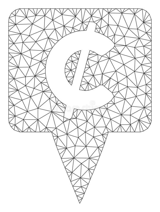 Vetor poligonal Mesh Illustration do quadro do ponteiro do mapa do centavo ilustração stock