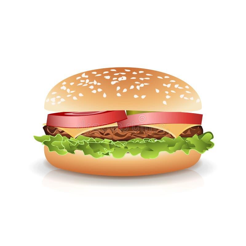 Vetor popular realístico do hamburguer do fast food Ilustração realística da foto do cheeseburger dobro isolado no fundo branco ilustração royalty free