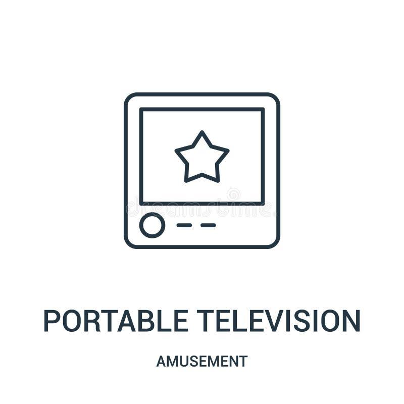 vetor portátil do ícone da televisão da coleção do divertimento Linha fina ilustração portátil do vetor do ícone do esboço da tel ilustração do vetor