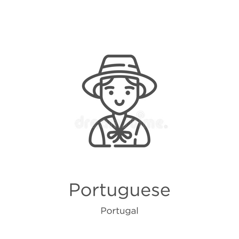 vetor português do ícone da coleção de Portugal Linha fina ilustração portuguesa do vetor do ícone do esboço Esbo?o, linha fina ilustração stock