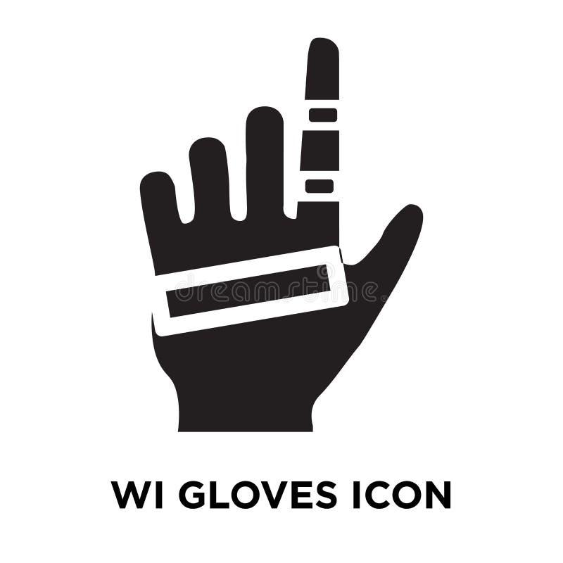 Vetor prendido do ícone das luvas isolado no fundo branco, logotipo concentrado ilustração royalty free
