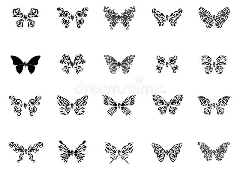 Vetor preto do grupo da tatuagem da borboleta ilustração stock