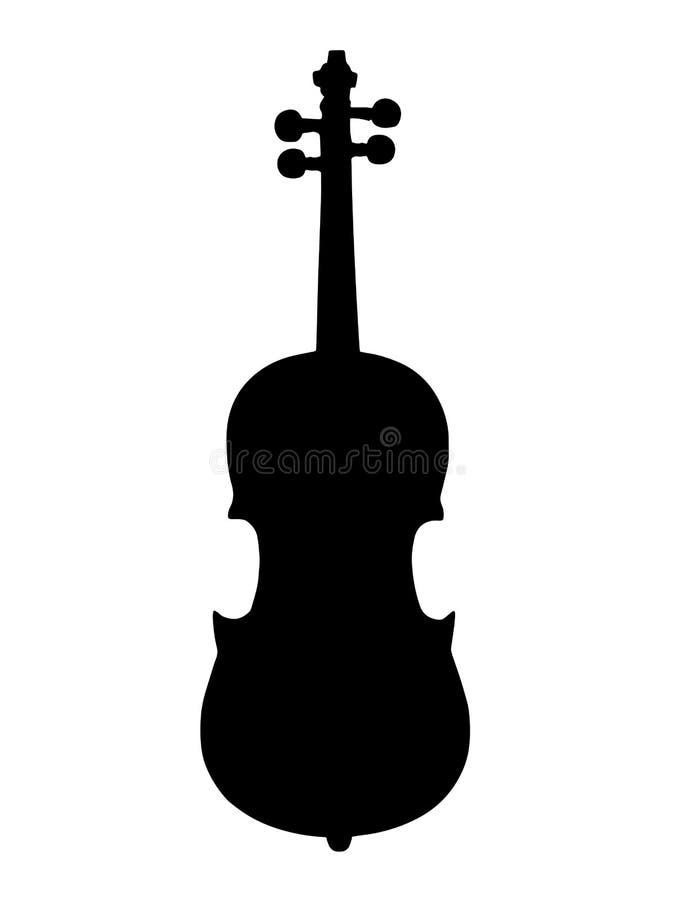 Vetor preto do instrumento musical do violino da silhueta ilustração royalty free
