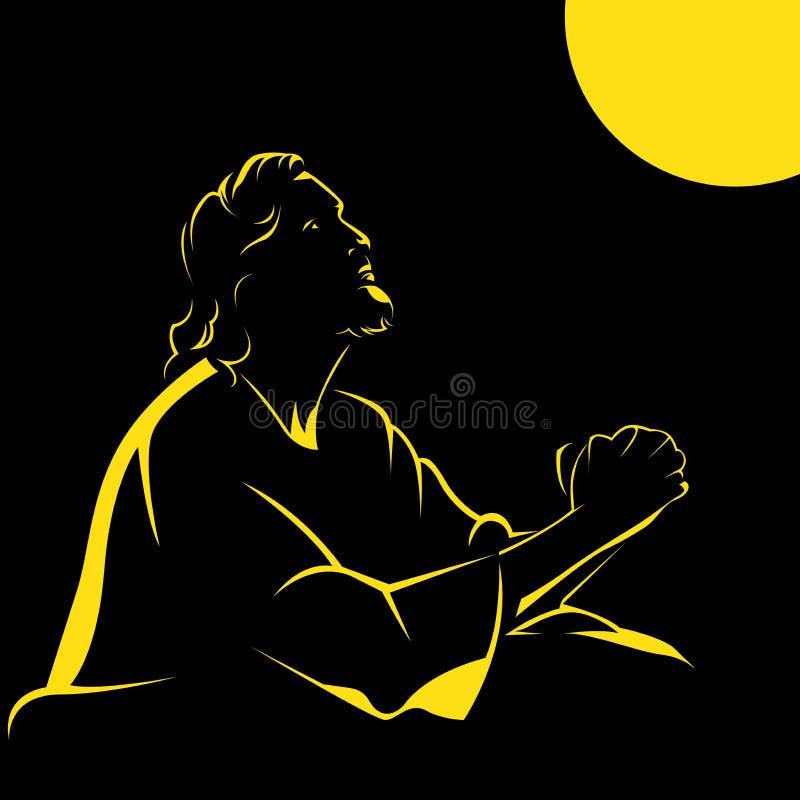 Vetor preto e amarelo /eps de Jesus Crist da silhueta ilustração royalty free