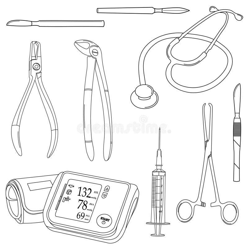Vetor preto e branco ajustado com ferramentas médicas ilustração do vetor