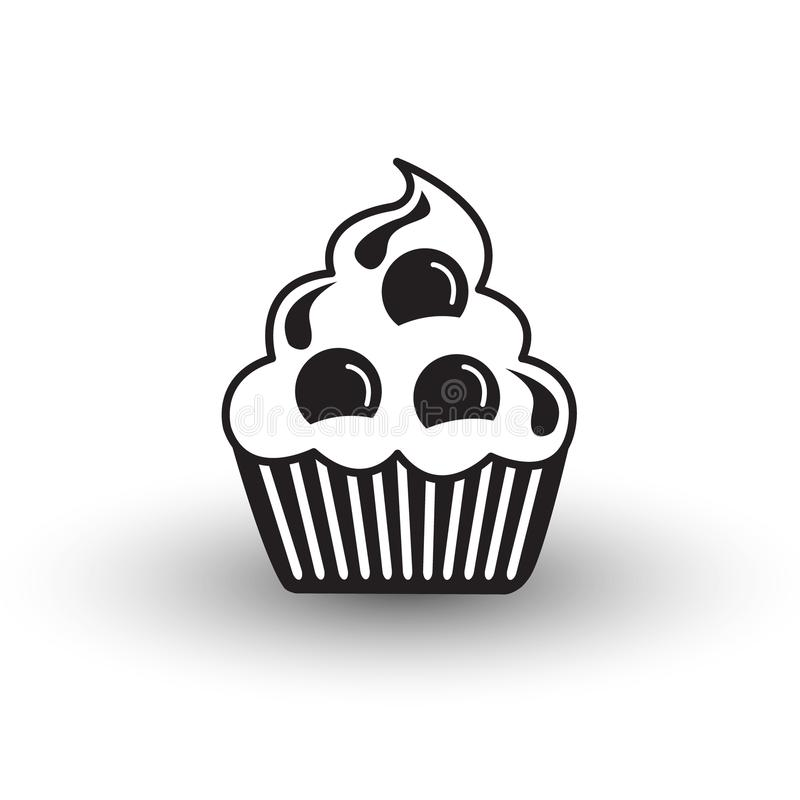 Vetor preto e branco com sombra, s do ícone bonito da sobremesa do bolo do copo ilustração stock