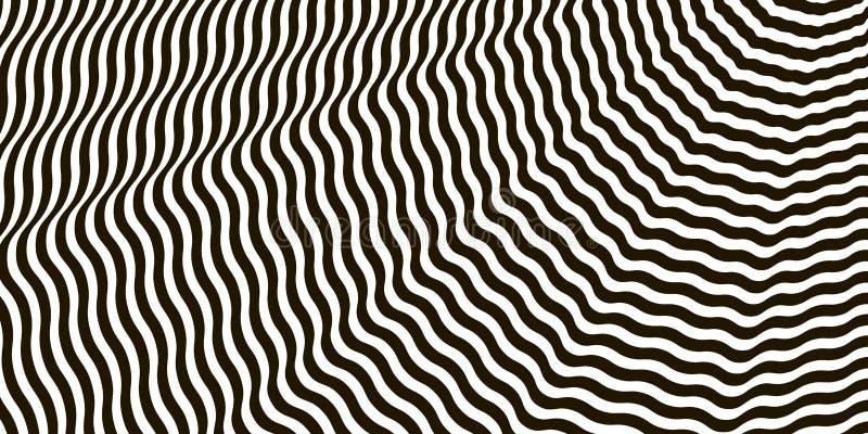 Vetor preto e branco cruzado ondulado da ilusão ótica das listras ilustração do vetor
