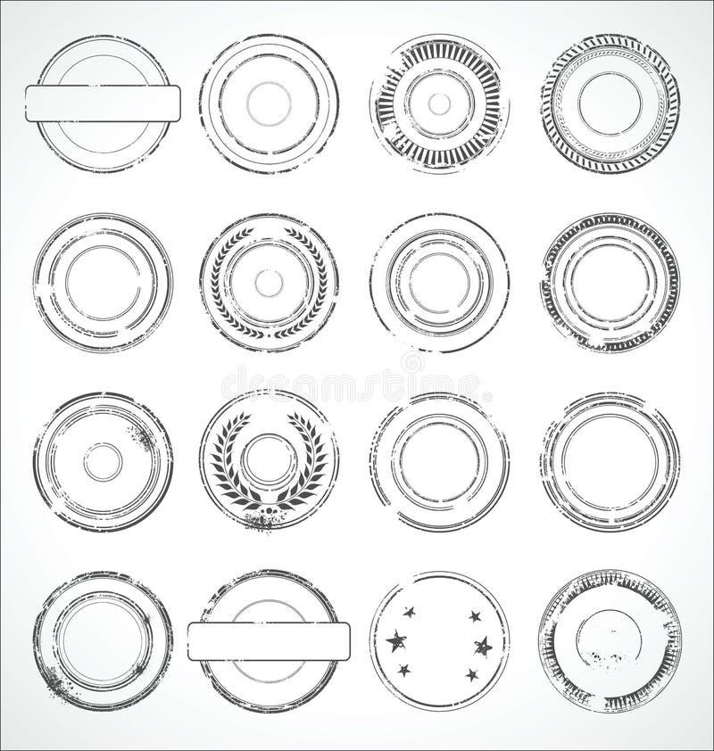 Vetor preto e branco das etiquetas de papel redondas do Grunge ilustração royalty free