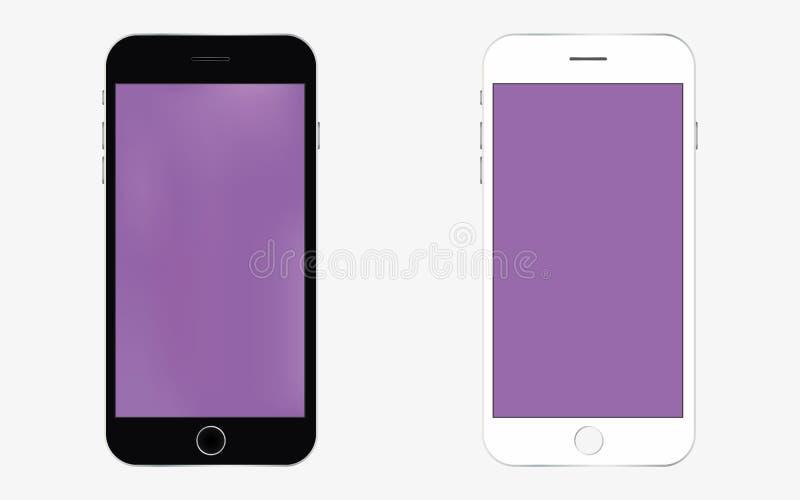 Vetor preto e branco eps10 de Smartphone com tela roxa ?cone do telefone celular smartphone na cor preto e branco ilustração do vetor