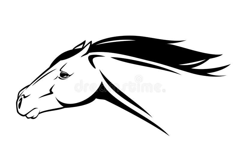 Vetor preto e branco running da cabeça de cavalo ilustração stock