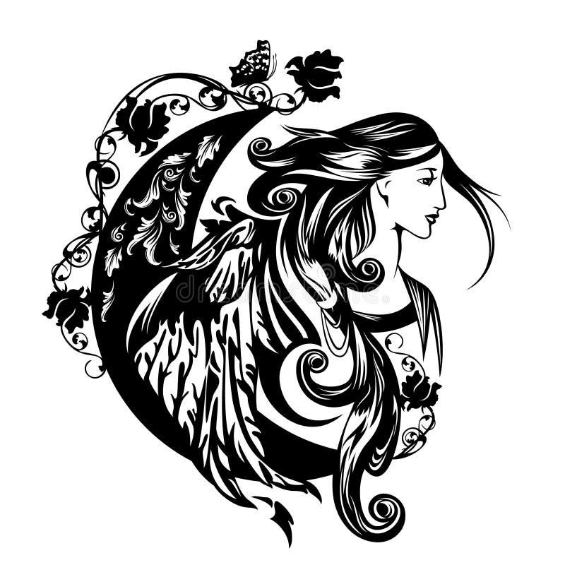 Vetor preto e branco voado da deusa da flora ilustração do vetor