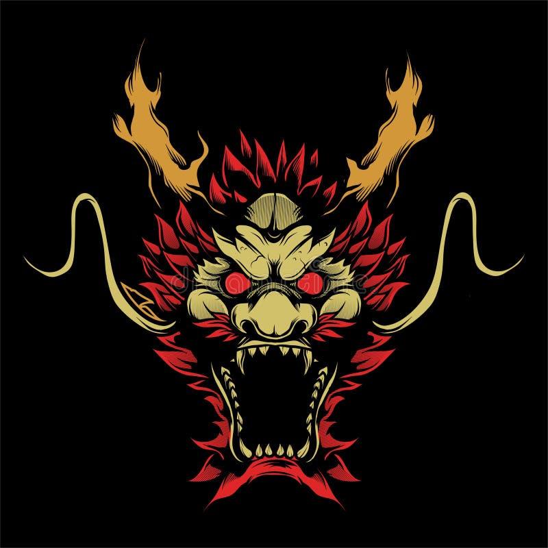 Vetor principal do desenho da mão do dragão ilustração royalty free