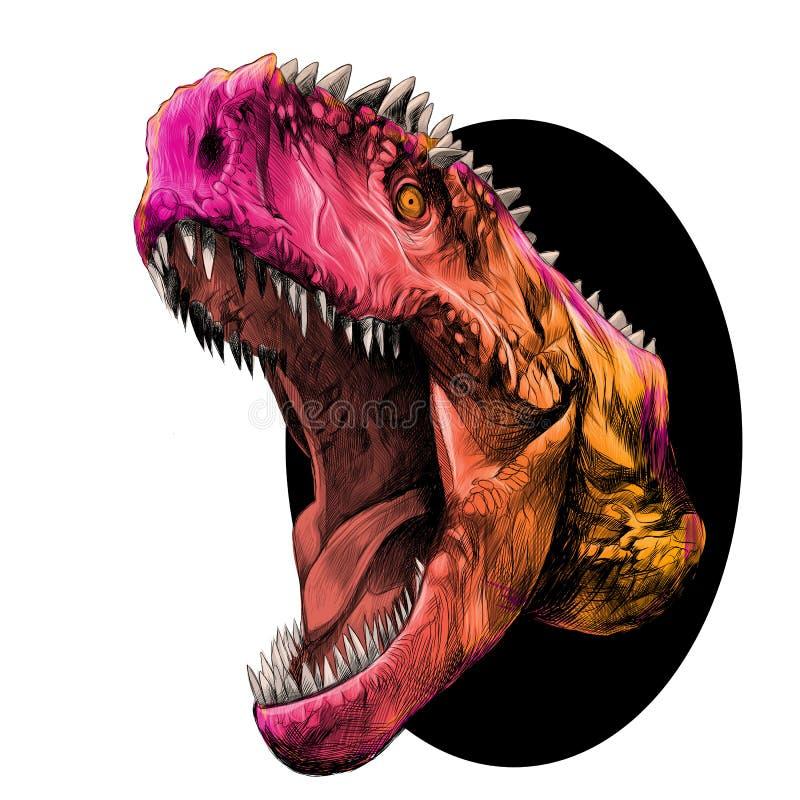 Vetor principal do esboço do dinossauro ilustração royalty free