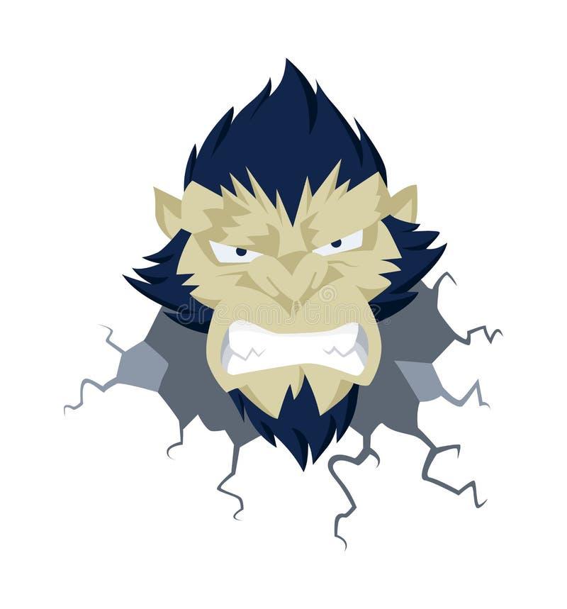 Vetor principal do gorila, vetor principal do macaco irritado, logotipo da cara do macaco ilustração stock