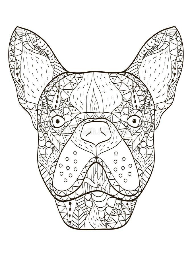Vetor principal do livro para colorir do buldogue para adultos ilustração royalty free