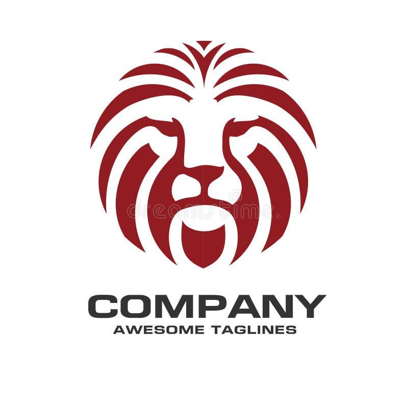 Vetor principal do logotipo da cor vermelha do leão ilustração stock