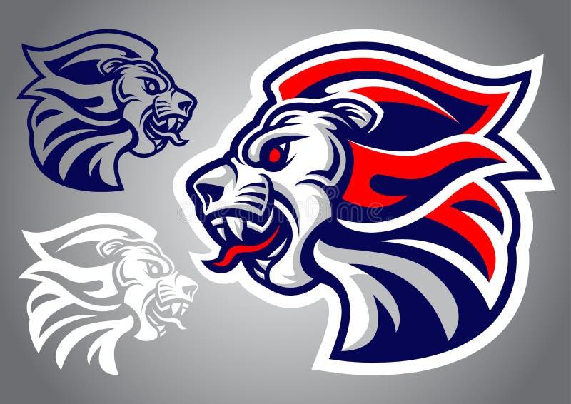Vetor principal do logotipo do vermelho azul do leão ilustração do vetor