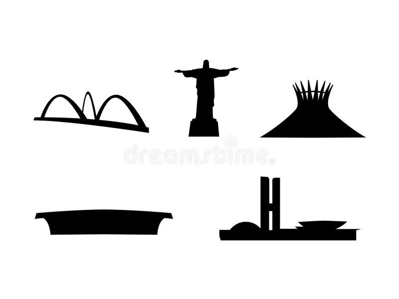 Vetor principal dos marcos de Brasil ilustração royalty free