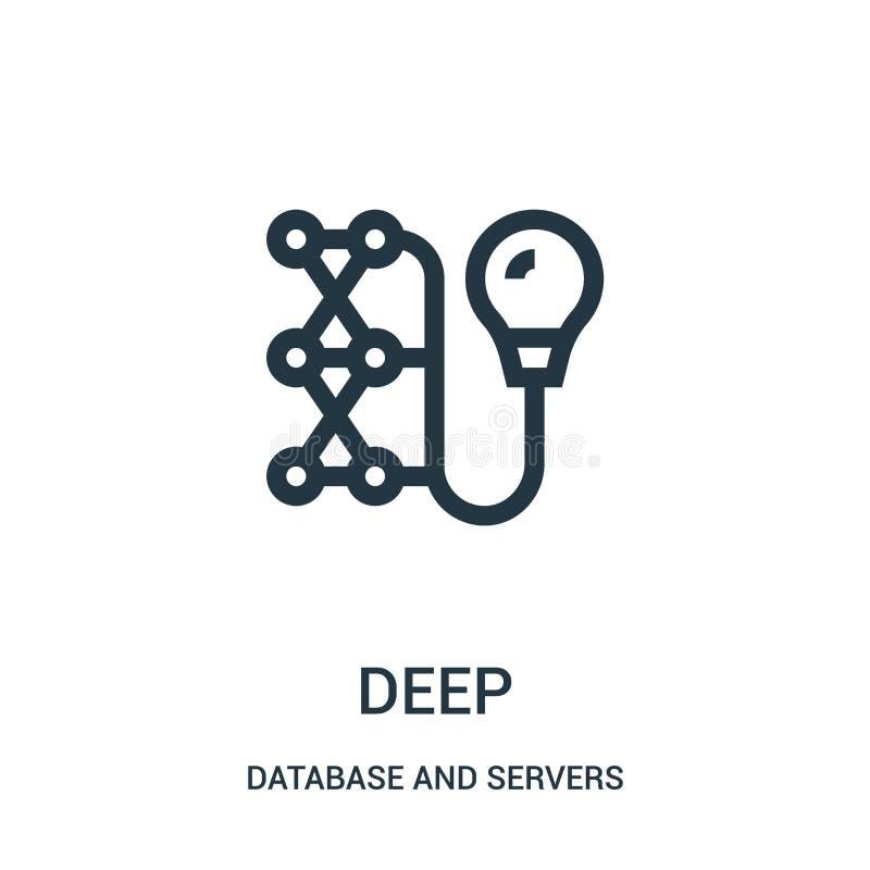 vetor profundo do ícone do banco de dados e da coleção dos servidores Linha fina ilustração profunda do vetor do ícone do esboço ilustração stock