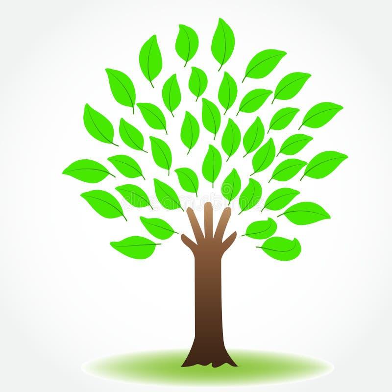 Vetor protetor do logotipo da imagem do ícone da mão da saúde da natureza da árvore ilustração stock