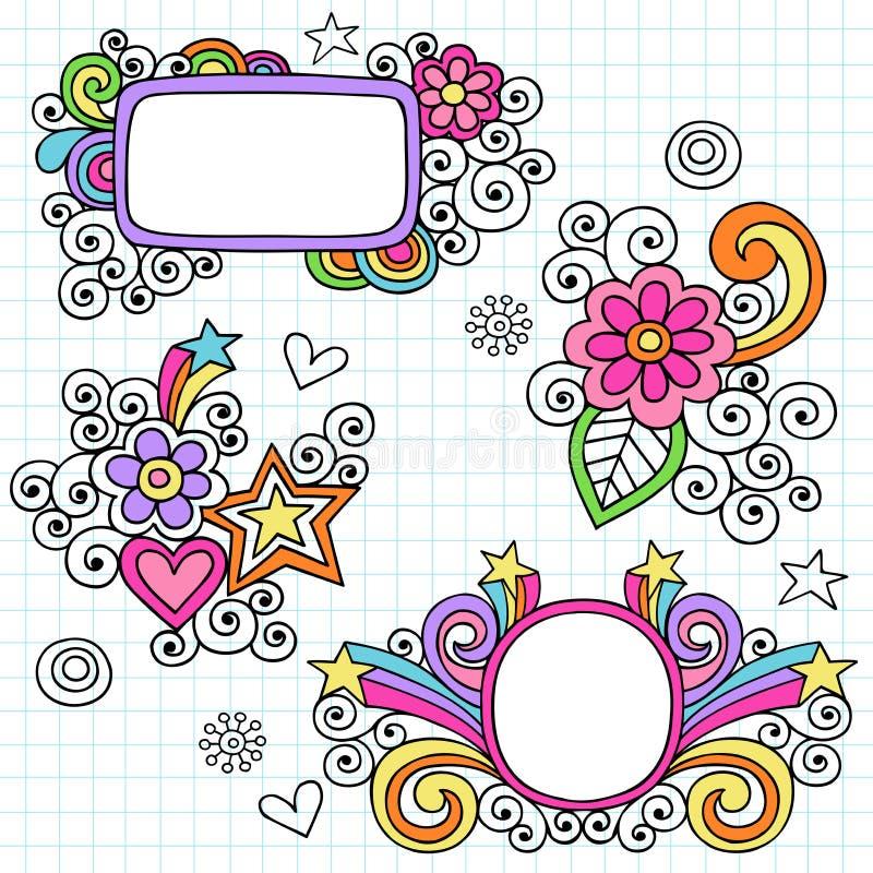 Vetor psicadélico do Doodle do caderno dos frames ilustração stock