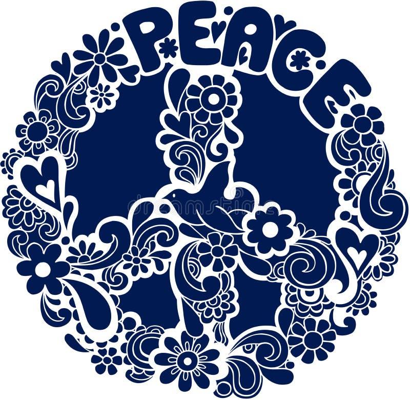 Vetor psicadélico Illus da silhueta do sinal de paz ilustração royalty free