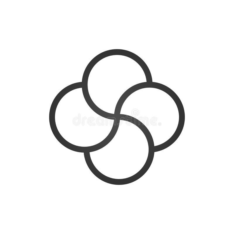 Vetor quádruplo do nó, vetor do projeto da tatuagem, nó transversal, quatro asas, inteligentes, logotipo da hélice Ilustração do  ilustração stock