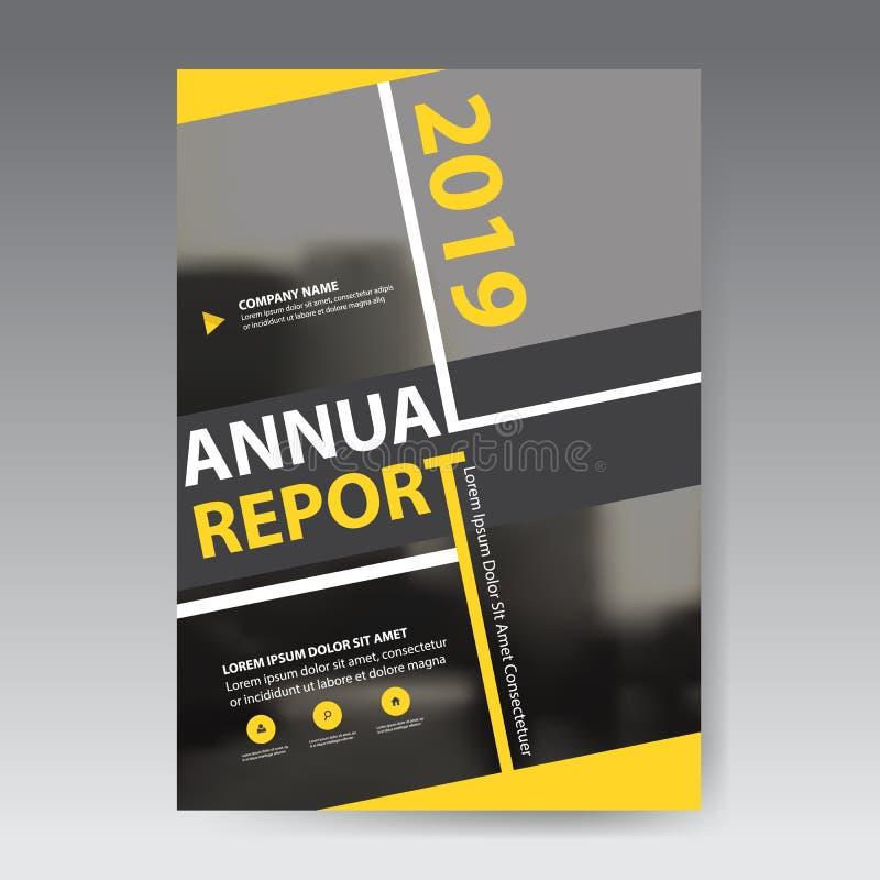 vetor quadrado abstrato do molde do projeto do folheto do informe anual do ัYellow Cartaz infographic do compartimento dos inse ilustração do vetor