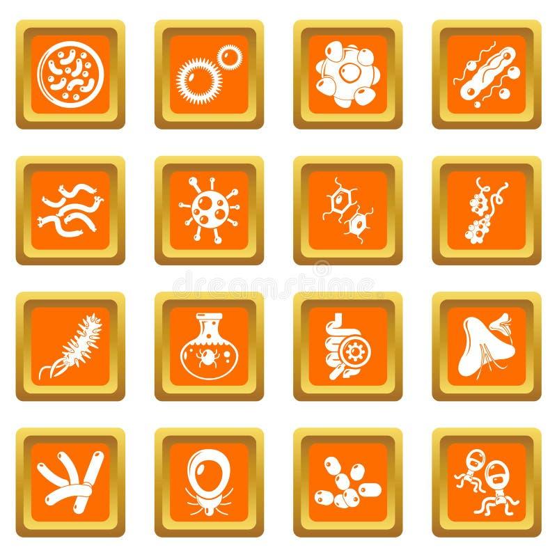 Vetor quadrado alaranjado ajustado ícones das bactérias do vírus ilustração do vetor