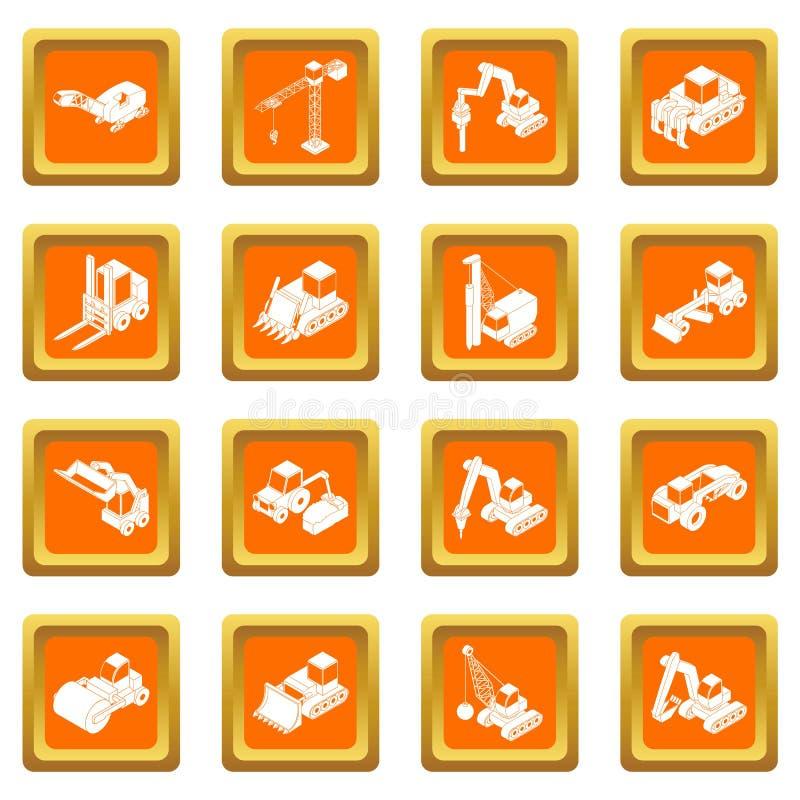 Vetor quadrado alaranjado ajustado ícones dos materiais de construção ilustração stock