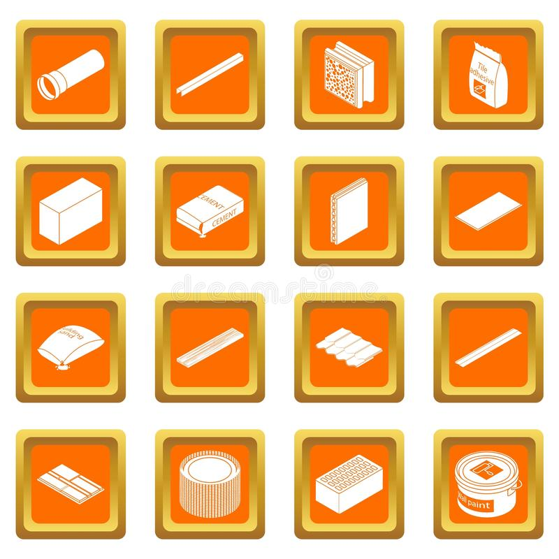 Vetor quadrado alaranjado ajustado ícones dos materiais de construção ilustração do vetor