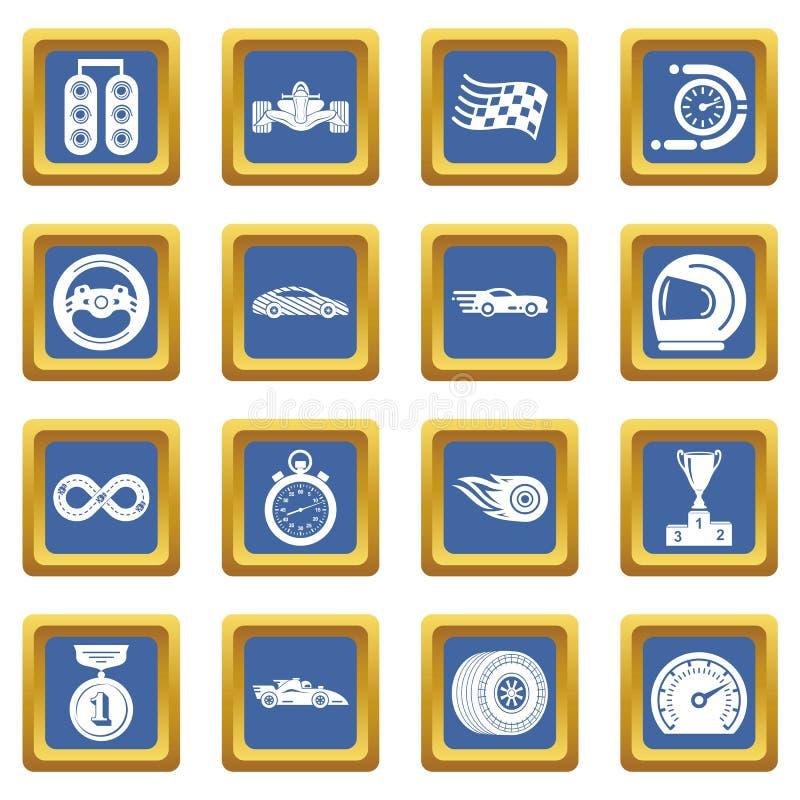 Vetor quadrado azul ajustado ícones da raça de carro ilustração stock