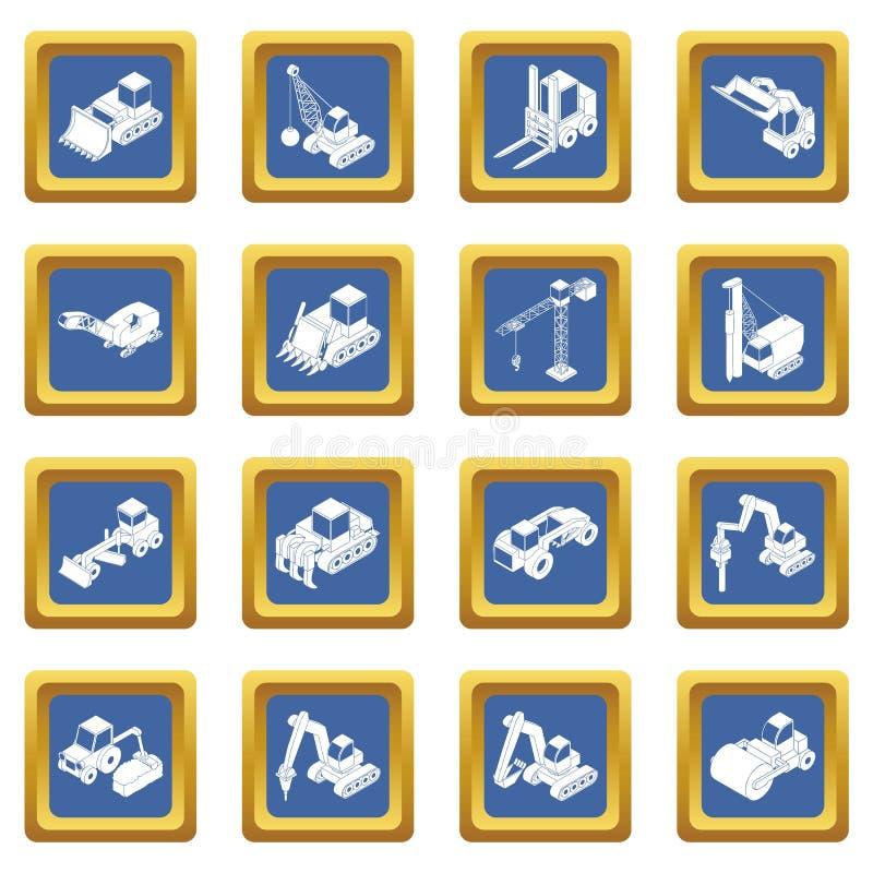 Vetor quadrado azul ajustado ícones dos materiais de construção ilustração royalty free