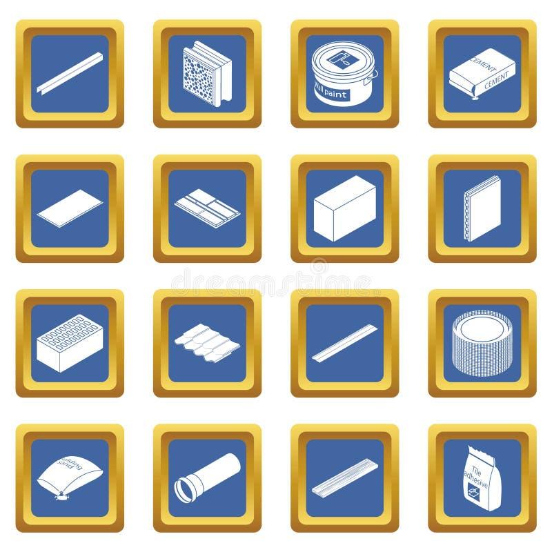 Vetor quadrado azul ajustado ícones dos materiais de construção ilustração stock
