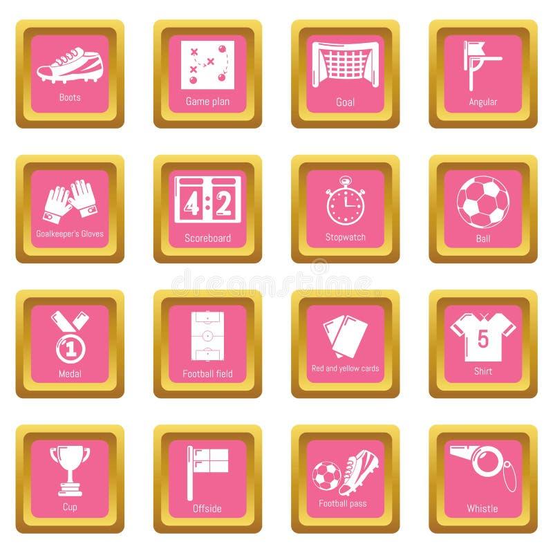 Vetor quadrado cor-de-rosa ajustado ícones do futebol do futebol ilustração royalty free