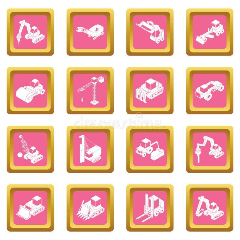 Vetor quadrado cor-de-rosa ajustado ícones dos materiais de construção ilustração stock