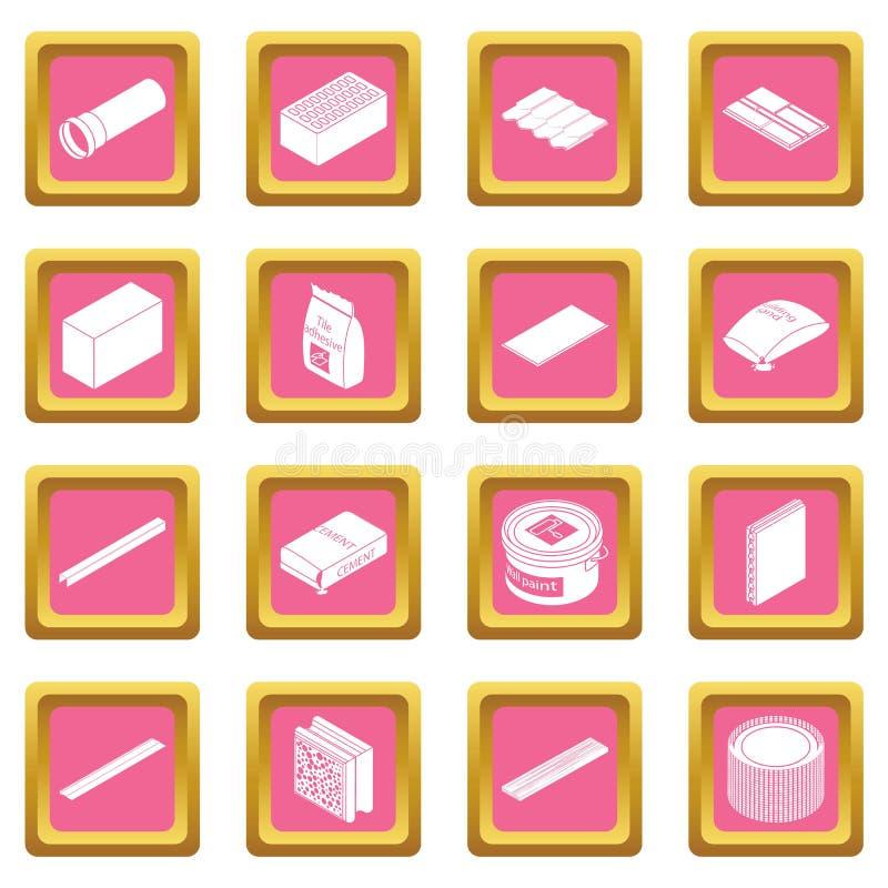Vetor quadrado cor-de-rosa ajustado ícones dos materiais de construção ilustração royalty free