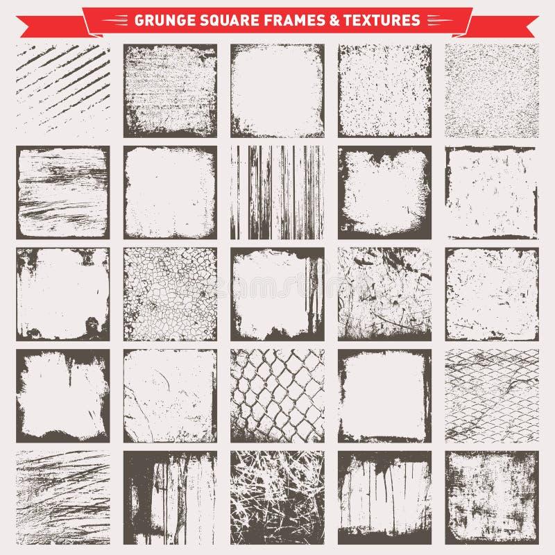 Vetor quadrado dos fundos dos quadros do Grunge ilustração do vetor