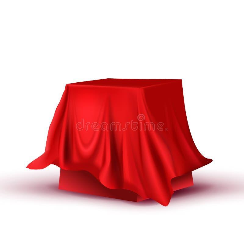 Vetor quadrado escondido projeto da tabela da toalha de mesa vermelha ilustração do vetor