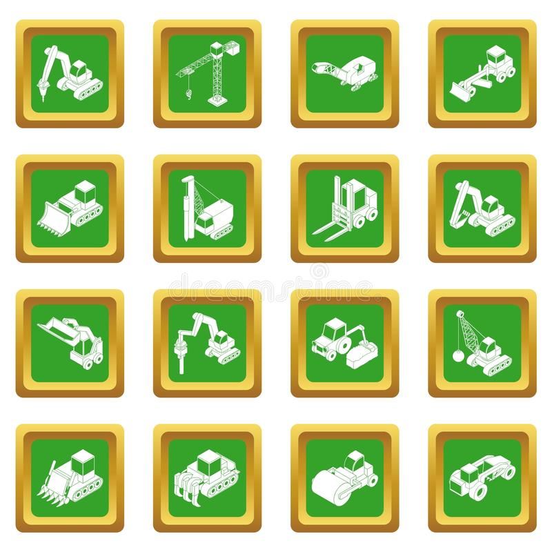Vetor quadrado verde ajustado ícones dos materiais de construção ilustração stock