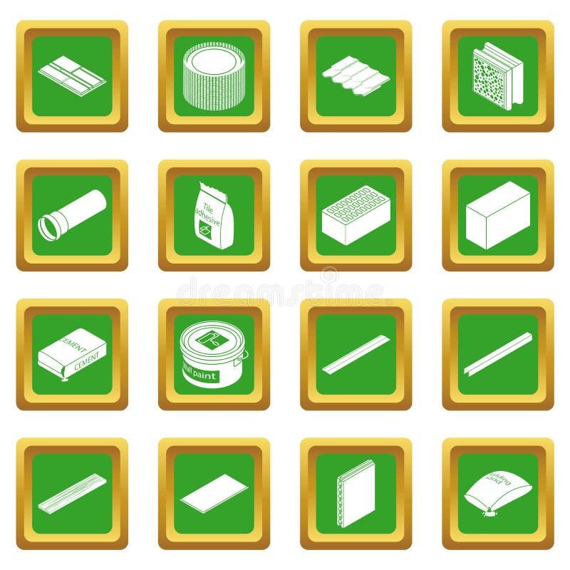 Vetor quadrado verde ajustado ícones dos materiais de construção ilustração do vetor
