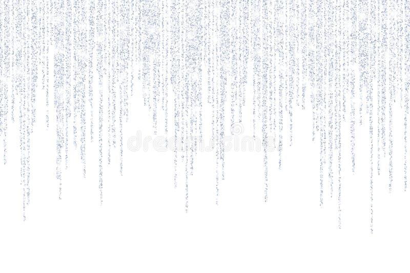Vetor que cai nas linhas pontos de prata dos confetes do brilho ilustração stock