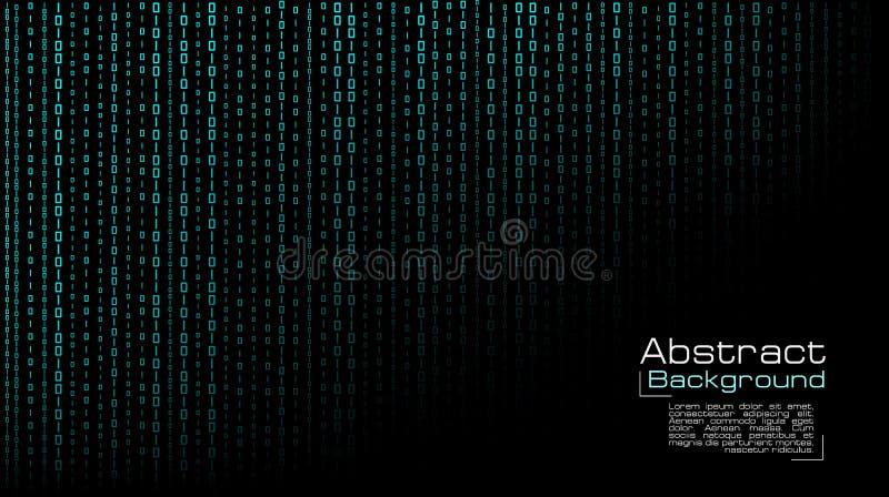 Vetor que flui o código binário azul no fundo preto ilustração do vetor