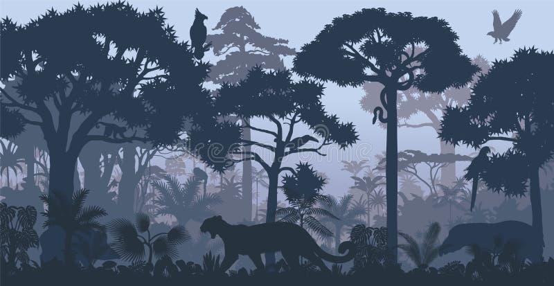 Vetor que nivela o fundo tropical da selva da floresta úmida ilustração do vetor