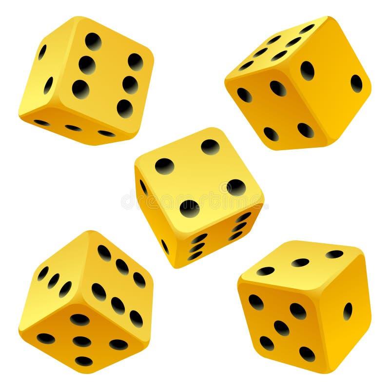 Vetor que rola o jogo amarelo dos dados ilustração stock