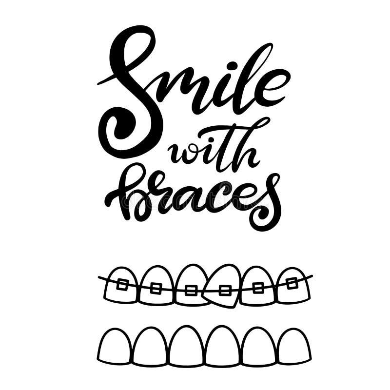 Vetor que rotula a ilustração sobre o tratamento ortodôntico e cuidados médicos dentais com a imagem das cintas nos dentes EPS10 ilustração do vetor