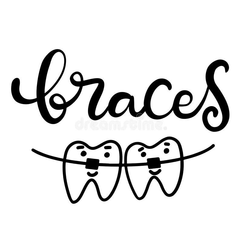 Vetor que rotula a ilustração sobre o tratamento ortodôntico e cuidados médicos dentais com a imagem das cintas nos dentes EPS10 ilustração royalty free